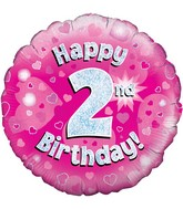 """18"""" Happy 2nd Birthday Pink Holographic Oaktree Foil Balloon"""