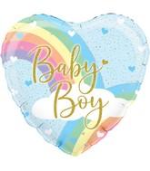 "18"" Pastel Rainbow Boy Holographic Oaktree Foil Balloon"