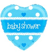 """18"""" Baby Shower Heart Blue Holographic Oaktree Foil Balloon"""