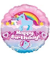 "18"" Unicorn Rainbow Birthday Holographic Oaktree Foil Balloon"