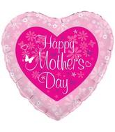 """18"""" Butterfly Heart Mothers Day Oaktree Foil Balloon"""