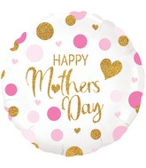 """18"""" Pink Confetti Mothers Day Holographic Oaktree Foil Balloon"""
