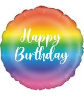 """18"""" Rainbow Script Birthday Oaktree Foil Balloon"""