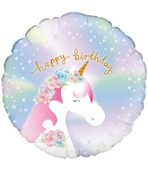 "18"" Pastel Unicorn Birthday Holographic Oaktree Foil Balloon"
