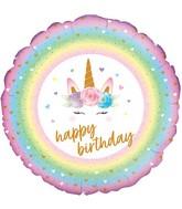 "18"" Flowers Unicorn Birthday Holographic Oaktree Foil Balloon"