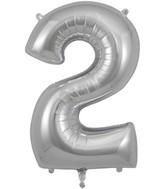 "34"" Number 2 Silver Oaktree Foil Balloon"