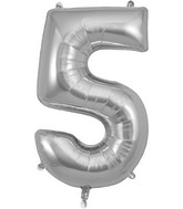 "34"" Number 5 Silver Oaktree Foil Balloon"