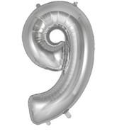 "34"" Number 9 Silver Oaktree Foil Balloon"