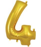 "34"" Number 4 Gold Oaktree Foil Balloon"