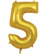 "34"" Number 5 Gold Oaktree Foil Balloon"