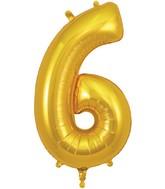 "34"" Number 6 Gold Oaktree Foil Balloon"