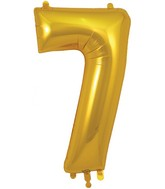 "34"" Number 7 Gold Oaktree Foil Balloon"