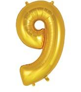 "34"" Number 9 Gold Oaktree Foil Balloon"