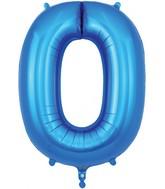 "34"" Number 0 Blue Oaktree Foil Balloon"
