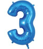 "34"" Number 3 Blue Oaktree Foil Balloon"