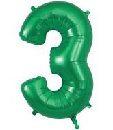 "34"" Number 3 Green Oaktree Foil Balloon"