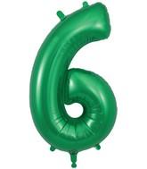 "34"" Number 6 Green Oaktree Foil Balloon"