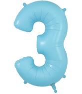"34"" Number 3 Matte Blue Oaktree Foil Balloon"
