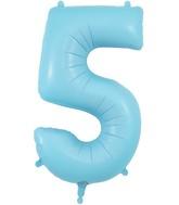 "34"" Number 5 Matte Blue Oaktree Foil Balloon"