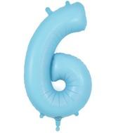 "34"" Number 6 Matte Blue Oaktree Foil Balloon"