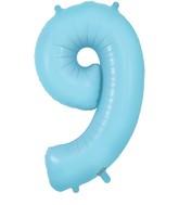 "34"" Number 9 Matte Blue Oaktree Foil Balloon"