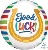 """16"""" Good Luck Rainbow Stripes Orbz Foil Balloon"""