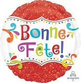 "28"" Jumbo Bonne Fete Sparkle Balloon"