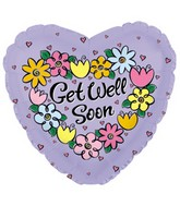 """4.5"""" Airfill Only Foil Balloon Get Well Daisies & Tulips"""
