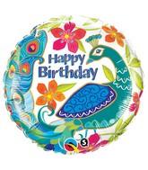 "18"" Birthday Peacock Mylar Balloon"