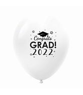 "11"" Congrats Grad 2022 Latex Balloons 25 Count White"