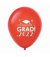 "11"" Congrats Grad 2022 Latex Balloons 25 Count Red"