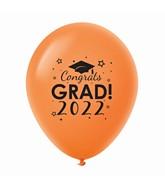 """11"""" Congrats Grad 2022 Latex Balloons 25 Count Orange"""