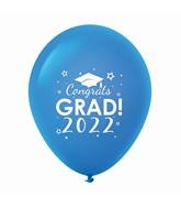 """11"""" Congrats Grad 2022 Latex Balloons 25 Count Blue"""