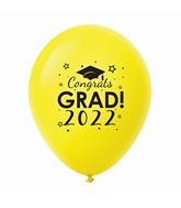 "11"" Congrats Grad 2022 Latex Balloons 25 Count Yellow"