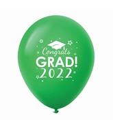 """11"""" Congrats Grad 2022 Latex Balloons 25 Count Green"""