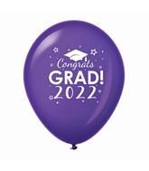 """11"""" Congrats Grad 2022 Latex Balloons 25 Count Purple"""