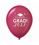 "11"" Congrats Grad 2022 Latex Balloons 25 Count Burgundy"