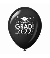 """11"""" Congrats Grad 2022 Latex Balloons 25 Count Black"""