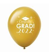 """11"""" Congrats Grad 2022 Latex Balloons 25 Count Gold"""