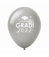 "11"" Congrats Grad 2022 Latex Balloons 25 Count Silver"
