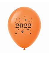 "11"" Year 2022 Stars Latex Balloons Orange (25 Per Bag)"
