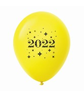 "11"" Year 2022 Stars Latex Balloons Yellow (25 Per Bag)"