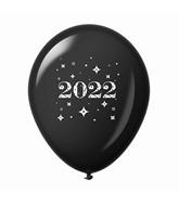 "11"" Year 2022 Stars Latex Balloons Black (25 Per Bag)"
