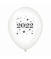 "11"" Year 2022 Stars Latex Balloons Clear (25 Per Bag)"