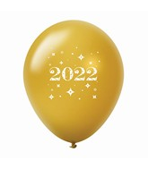 "11"" Year 2022 Stars Latex Balloons Gold (25 Per Bag)"