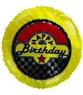 """4"""" Airfill Happy Birthday Yellow Checkered Balloon"""