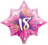 "28"" 18th Birthday  Pink Shinning Star Balloon"