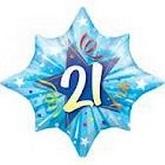 """25"""" Large 21 Blue Star Mylar Balloon"""
