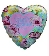 """9"""" Airfill Only Floral Heart Happy Birthday Balloon"""