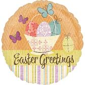 """18"""" Easter Greetings Butterfly and Basket Balloon"""